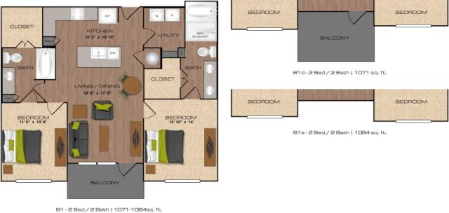 1,071 sq. ft. to 1,085 sq. ft. B1 floor plan