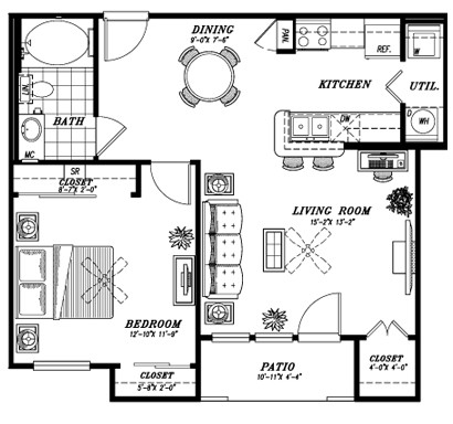 748 sq. ft. A1D floor plan
