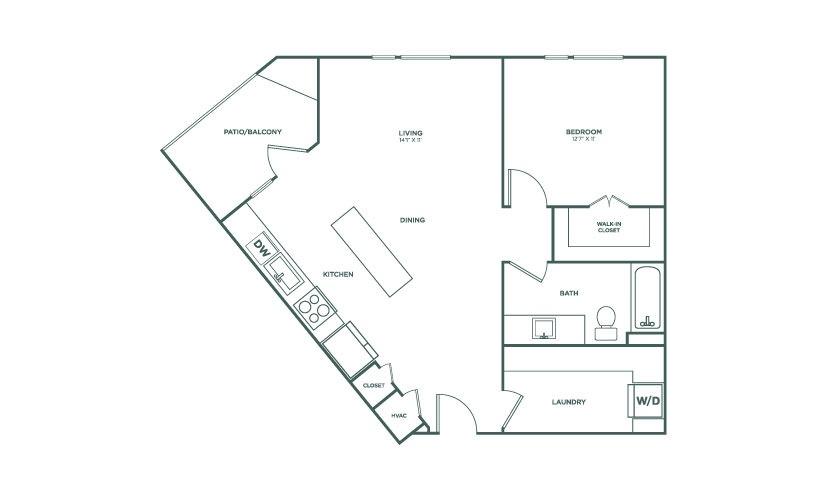 817 sq. ft. A4 floor plan