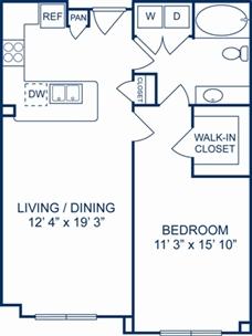 795 sq. ft. London floor plan