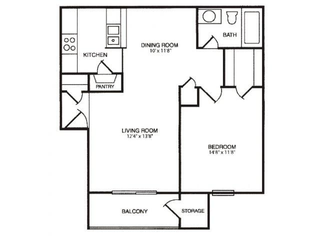 675 sq. ft. floor plan