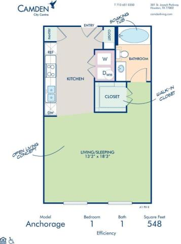 548 sq. ft. ANCHORAGE floor plan