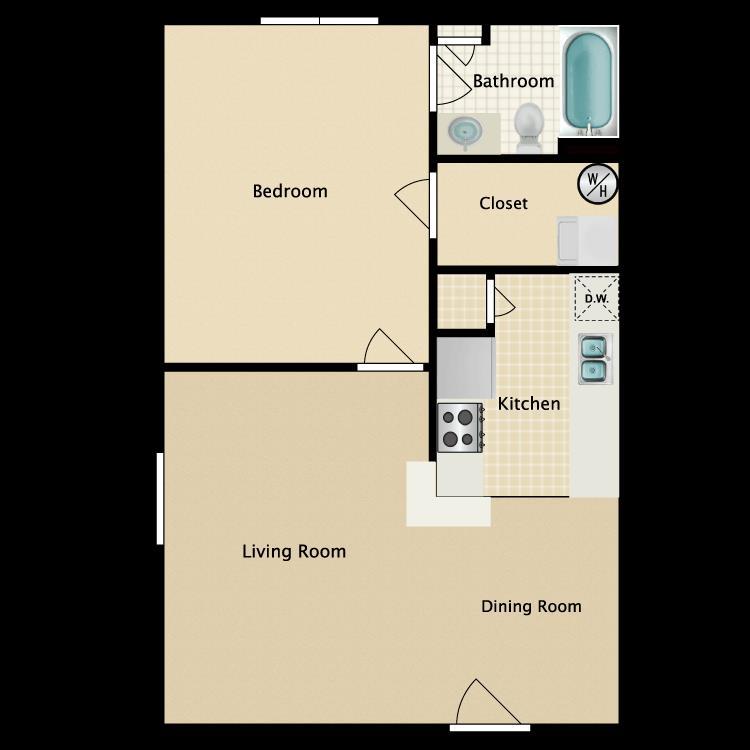 656 sq. ft. floor plan