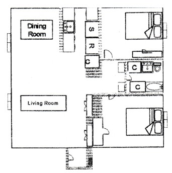 1,076 sq. ft. floor plan