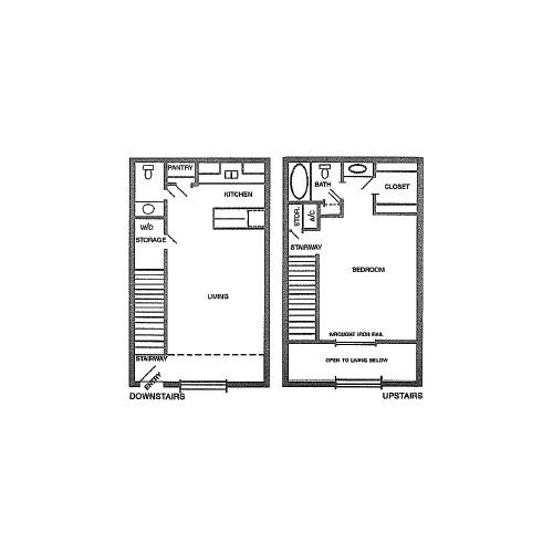 840 sq. ft. J floor plan