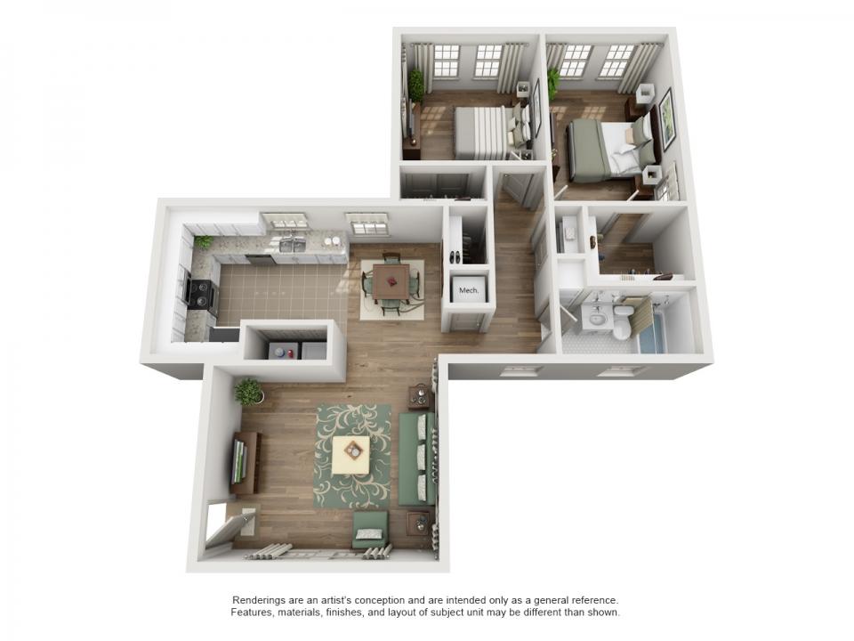 1,024 sq. ft. C floor plan