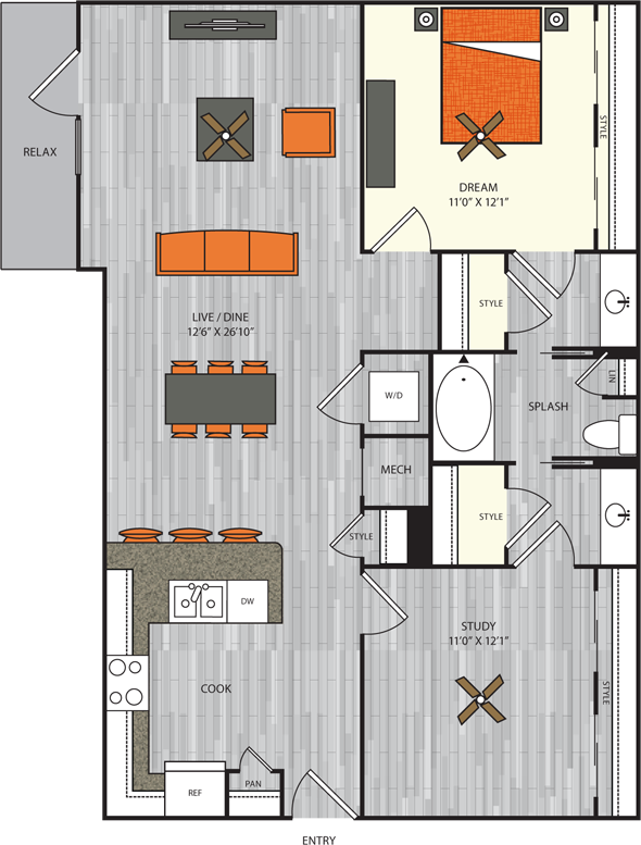 1,113 sq. ft. A9 floor plan