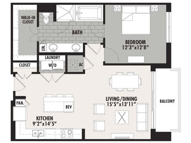 923 sq. ft. A6 floor plan