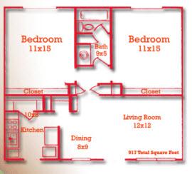 917 sq. ft. floor plan
