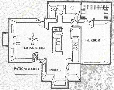 740 sq. ft. Forestview floor plan
