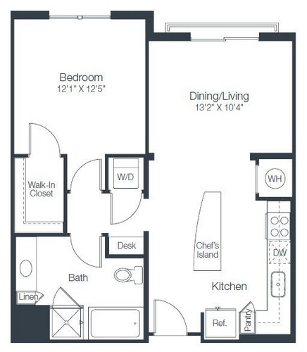 743 sq. ft. A2C floor plan