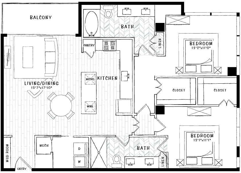 1,274 sq. ft. B3 floor plan
