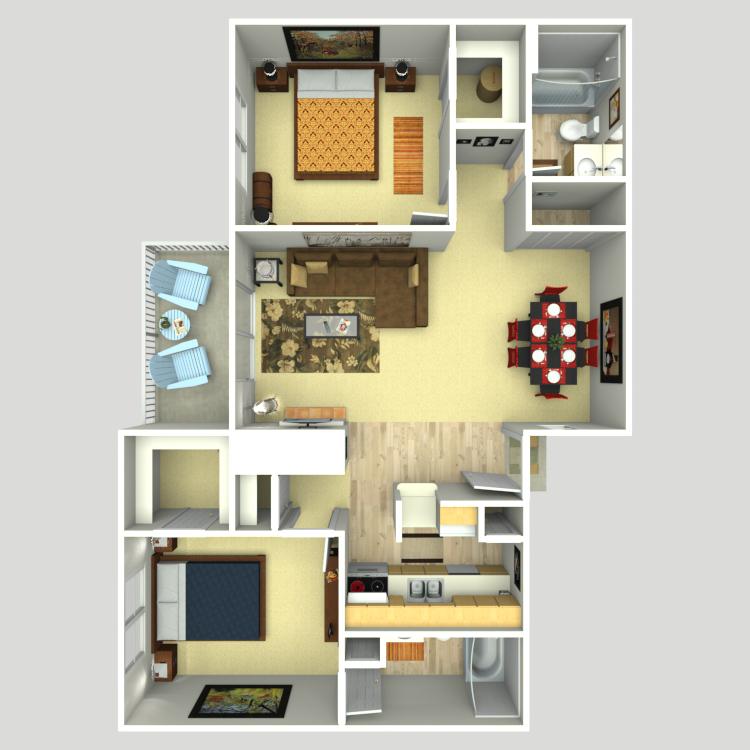 1,000 sq. ft. B3 floor plan