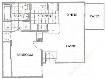 479 sq. ft. 1A floor plan