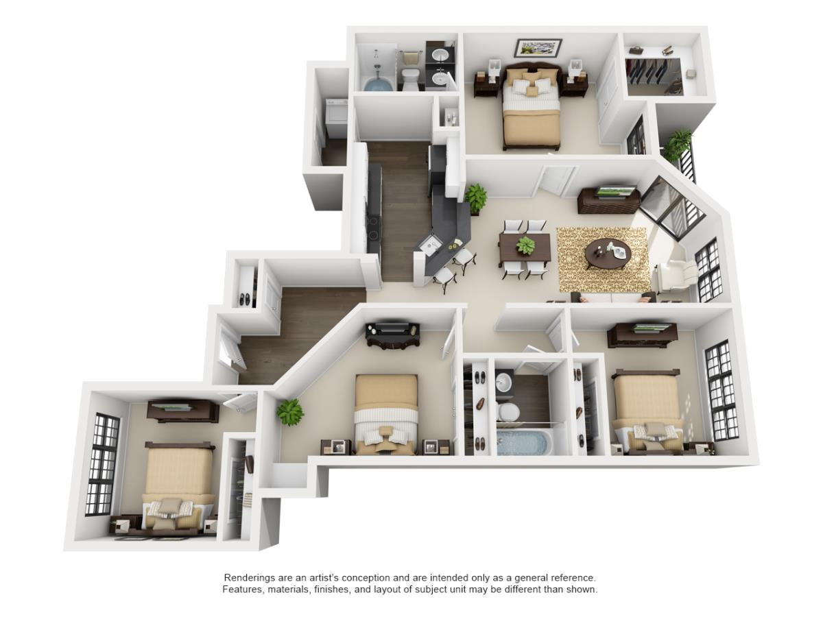 1,375 sq. ft. TAMARRON floor plan