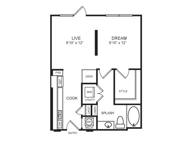 579 sq. ft. Knox floor plan