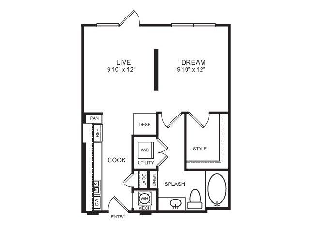 579 sq. ft. Knox floor plan
