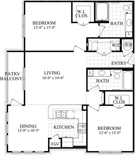 1,207 sq. ft. floor plan