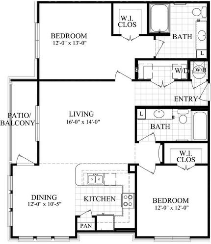 1,207 sq. ft. D floor plan