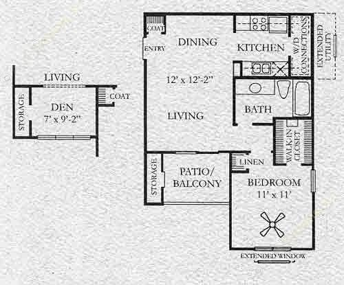 600 sq. ft. Willowgate floor plan