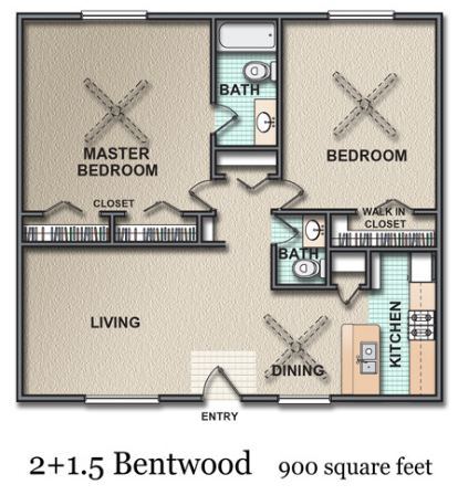 900 sq. ft. Bentwood floor plan