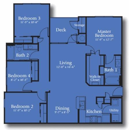 1,372 sq. ft. 60% floor plan