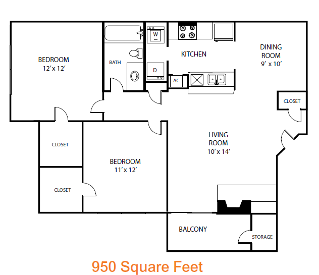 950 sq. ft. Mulberry floor plan