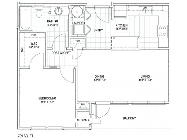 709 sq. ft. 30 floor plan