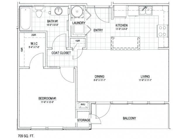 709 sq. ft. 30 floor plan