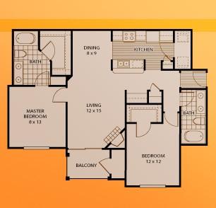 1,099 sq. ft. B2 floor plan