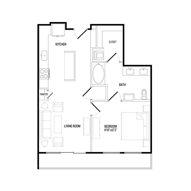 752 sq. ft. A5 floor plan