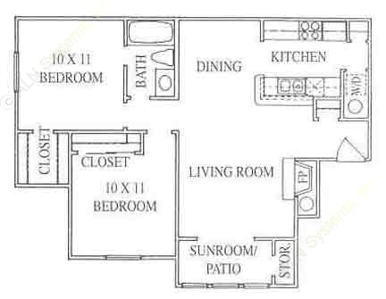 904 sq. ft. 2B floor plan