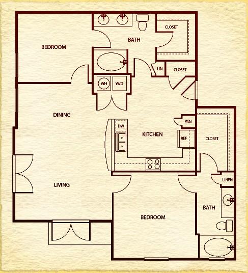 1,175 sq. ft. C5 floor plan