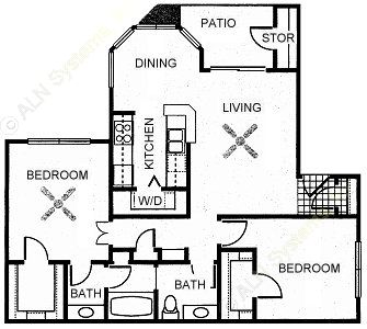 940 sq. ft. CYPRESS floor plan
