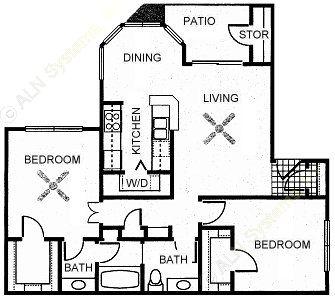 940 sq. ft. CYPRESS floor plan