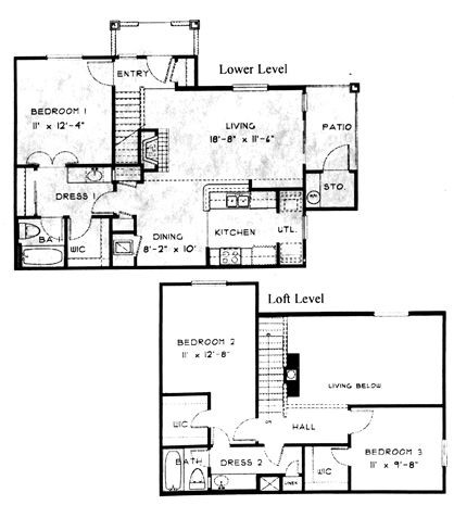 1,238 sq. ft. C1 floor plan