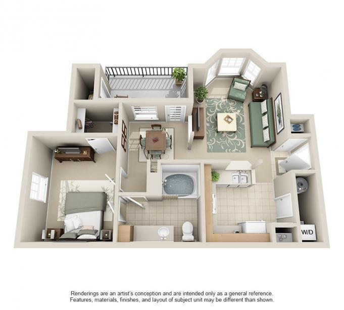 699 sq. ft. Dogwood floor plan