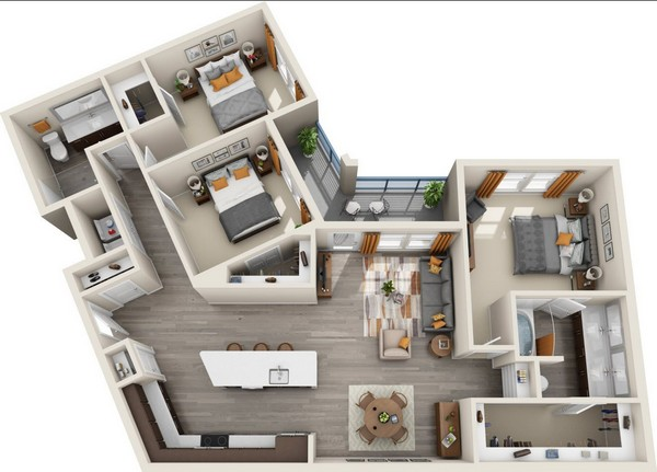 1,456 sq. ft. C1 floor plan
