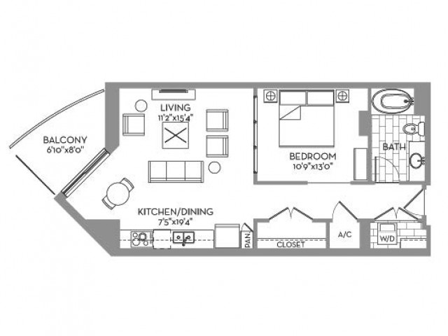 751 sq. ft. Royal(E.4) floor plan