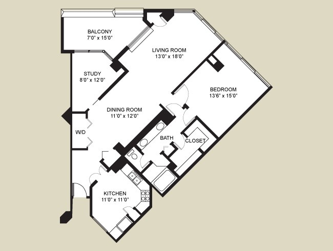 1,190 sq. ft. Beverly/Penthouse floor plan