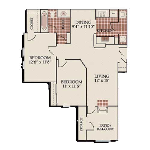 879 sq. ft. B1/ABP floor plan