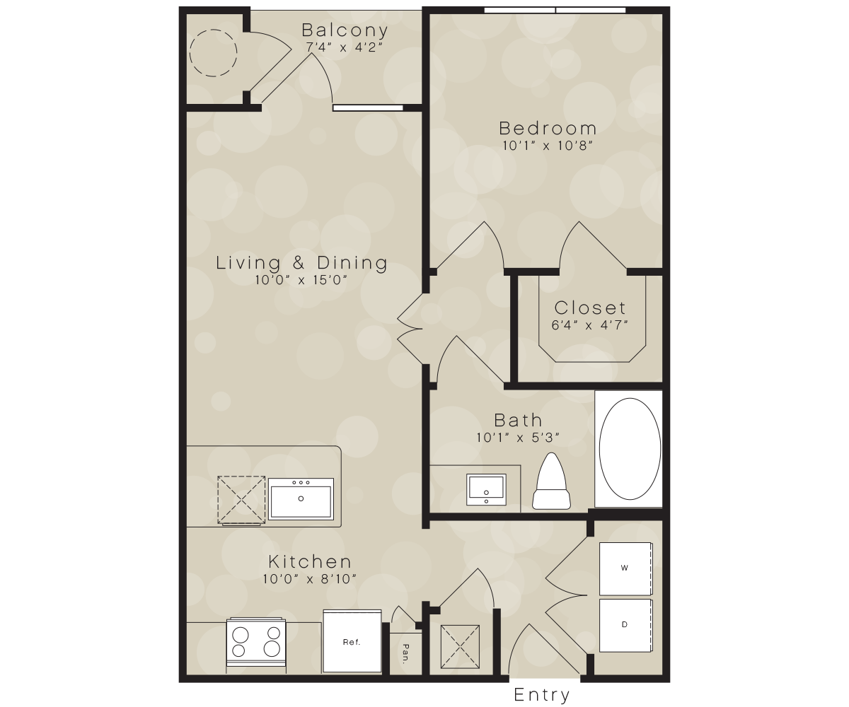 566 sq. ft. A2 floor plan