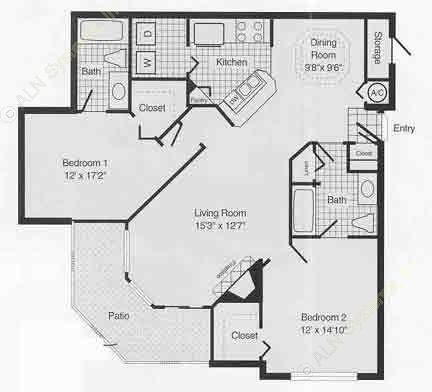 1,096 sq. ft. to 1,240 sq. ft. E floor plan