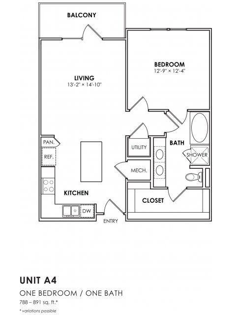 788 sq. ft. A4 floor plan