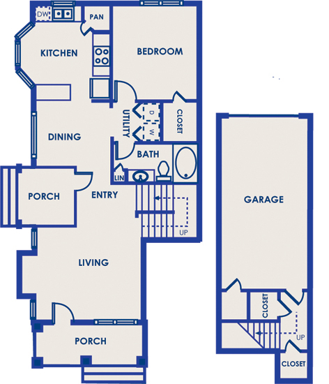 993 sq. ft. 11E floor plan