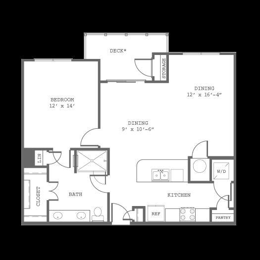 885 sq. ft. A6 floor plan