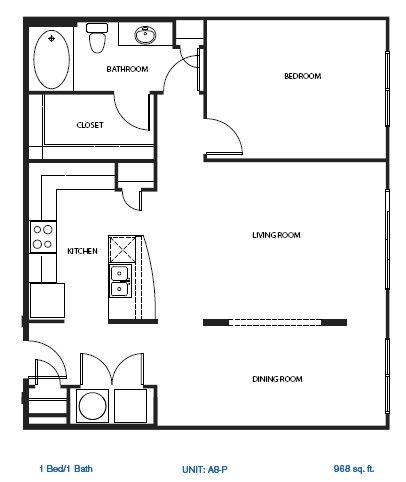 1,000 sq. ft. A8-P floor plan