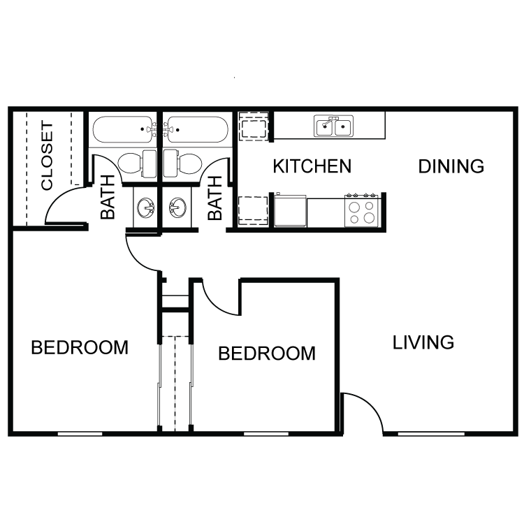 888 sq. ft. B1 floor plan