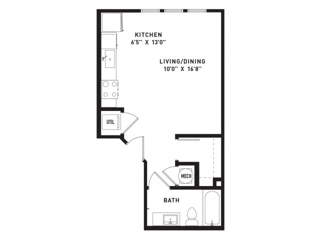 530 sq. ft. E2 floor plan