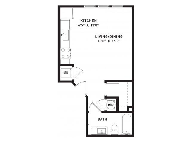 530 sq. ft. E2 floor plan